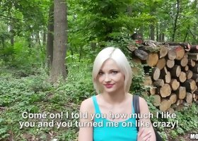 Beautiful Euro babe takes the money and has sex deep in the woods