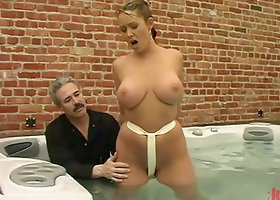 Busty Christina Carter gets tied up and toyed in a bathtub