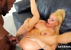 Stellar pornstar gets her spread honey pot and anal intensely drilled in interracial hardcore fucking by lexington steele and his hard dick