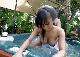 Big boobed Asian nympho Jade Kush gets bent and fucked from behind