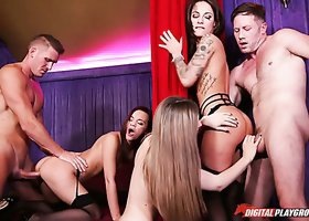 Stella Cox fucks passionately in hardcore orgy in a club