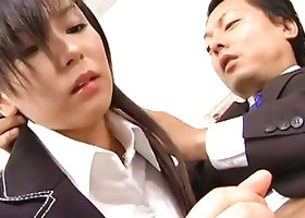 Satomi Maeno has to suck cock during a business meeting