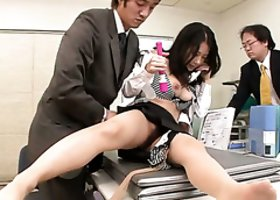 Several office workers came to toy fuck curvy Asian boss Satomi Suzuki