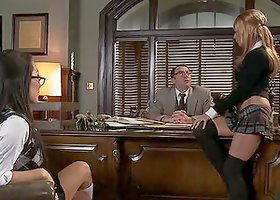 Awesome Cum Swapping Office Threesome with Asa Akira and Kirsten Price