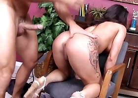 Tattooed babe is being fucked in the government office