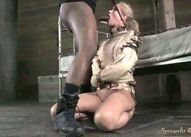 Blind folded milf Simone Sonay gets her throat drilled hard