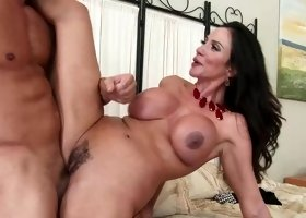 Milf Ariella Ferrera catches bff's bf sexting & takes his cock inside her cunt