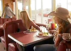 Jessica Drake gives a handjob to some stud at a cafe