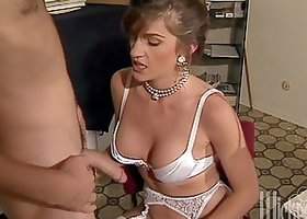 Sexy Pornstar Treats Him to a Blowjob and Amazing Titjob