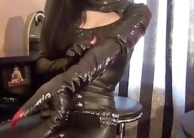 Longnails and black latex dress