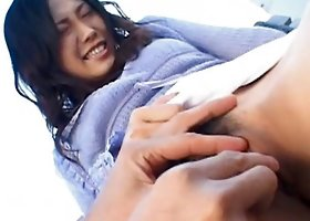 Japanese  Yui Komine gets fingered outdoors