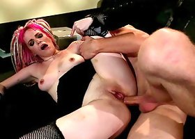 Punk is dressed up in sexy fishnets for her horny man