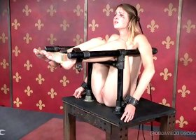Babe stripped then spanked lovely in BDSM porn shoot