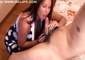 Hot CFNM MILF with long nails makes dick cum