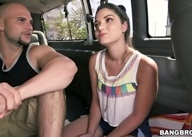 Foxy brunette gets in the bus for a hot pussy drilling shoot