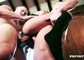 Beautiful college babe Amirah Adara is fucked by two neighbors