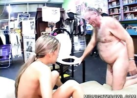 Cute white teenager Jane rides old man's dick in convenience store