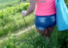Filthy Russian skank riding hard dick on a loan outdoor