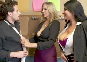 Julia Ann & Romi Rain tag team the delivery guy in a threesome