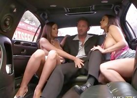 Two Hot Girls Suck Cock In Limo