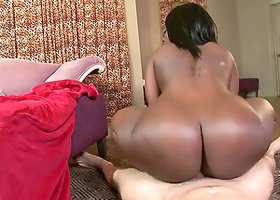 Voluptuous Ebony Babe with Huge Black Booty Fucks a White Dick