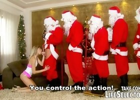 Blonde gets filled by horny santas