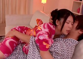 Kimono and satin panties girl eaten out and banged on his couch