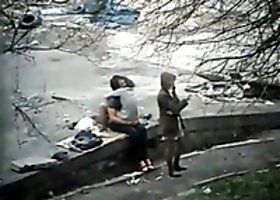 Spy video of slutty girl fucking her BF in public park outdoor