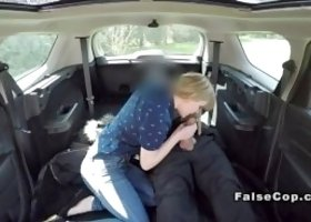 Fake cop stops sexy blonde on a bike in country road and checks is bike stolen then in back of his huge car fucks her mouth and cunt