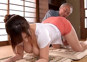 Old man uses a toy on a hot Japanese chick with big tits