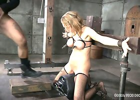 Black horny freak mouth fucks bound blond hottie Rain DeGrey hard
