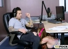 Hot redhead pornstar Dani Jensen gives a nice sloppy blowjob and gets her pussy fucked by pervert radio DJ in the station
