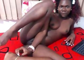 Ugly black girl with beautiful slim body caressing herself sensually