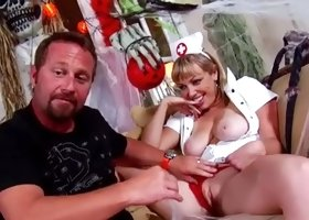 Perverted tattooed nurse fucking with her client