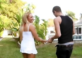 Outdoors cock-riding action with a hairy pussy blonde