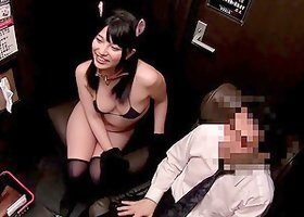 A cute cosplaying Japanese girl gets banged in a back room