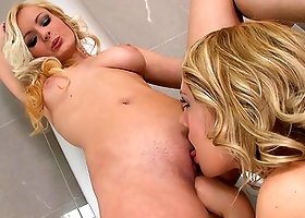 Lesbian Scene In A Public Restroom Between Hot Blondes